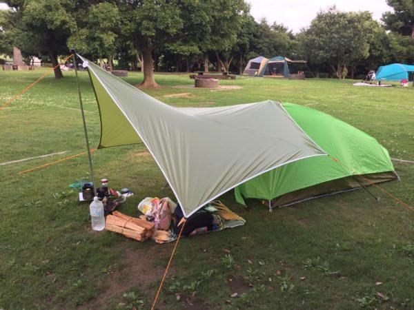 若洲公園キャンプ場で実際にテント張った模様