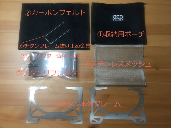 「RSR Naturestove」の各部品