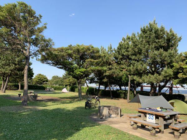 バイクパッキングにも最適な城南島海浜公園キャンプ場