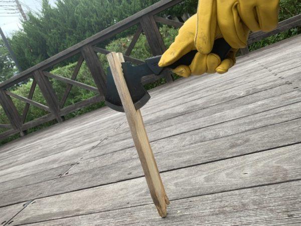燕三条乃斧を使った細い薪の薪割り③