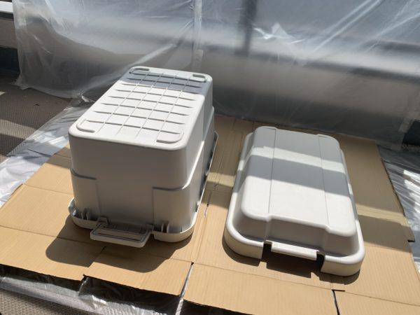 無印の「頑丈収納ボックス」塗装前の下塗り後の乾燥