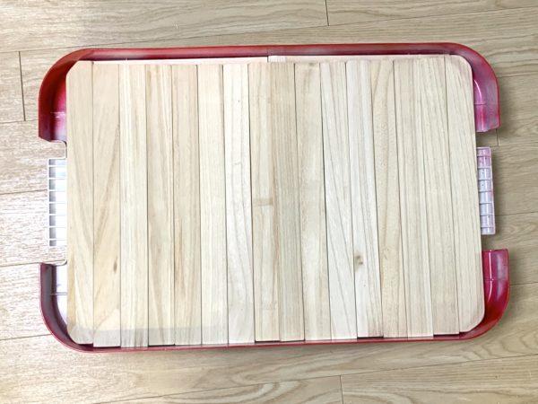 無印良品「頑丈収納ボックス」テーブル化の天板カット_5