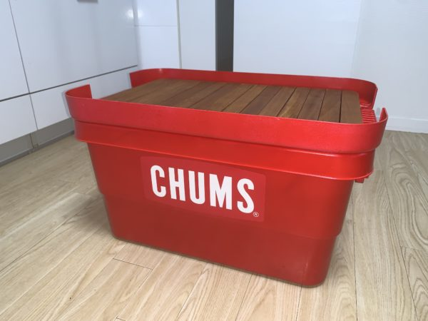 無印「収納ボックス」を赤に塗装してキャンプ用テーブルにDIY
