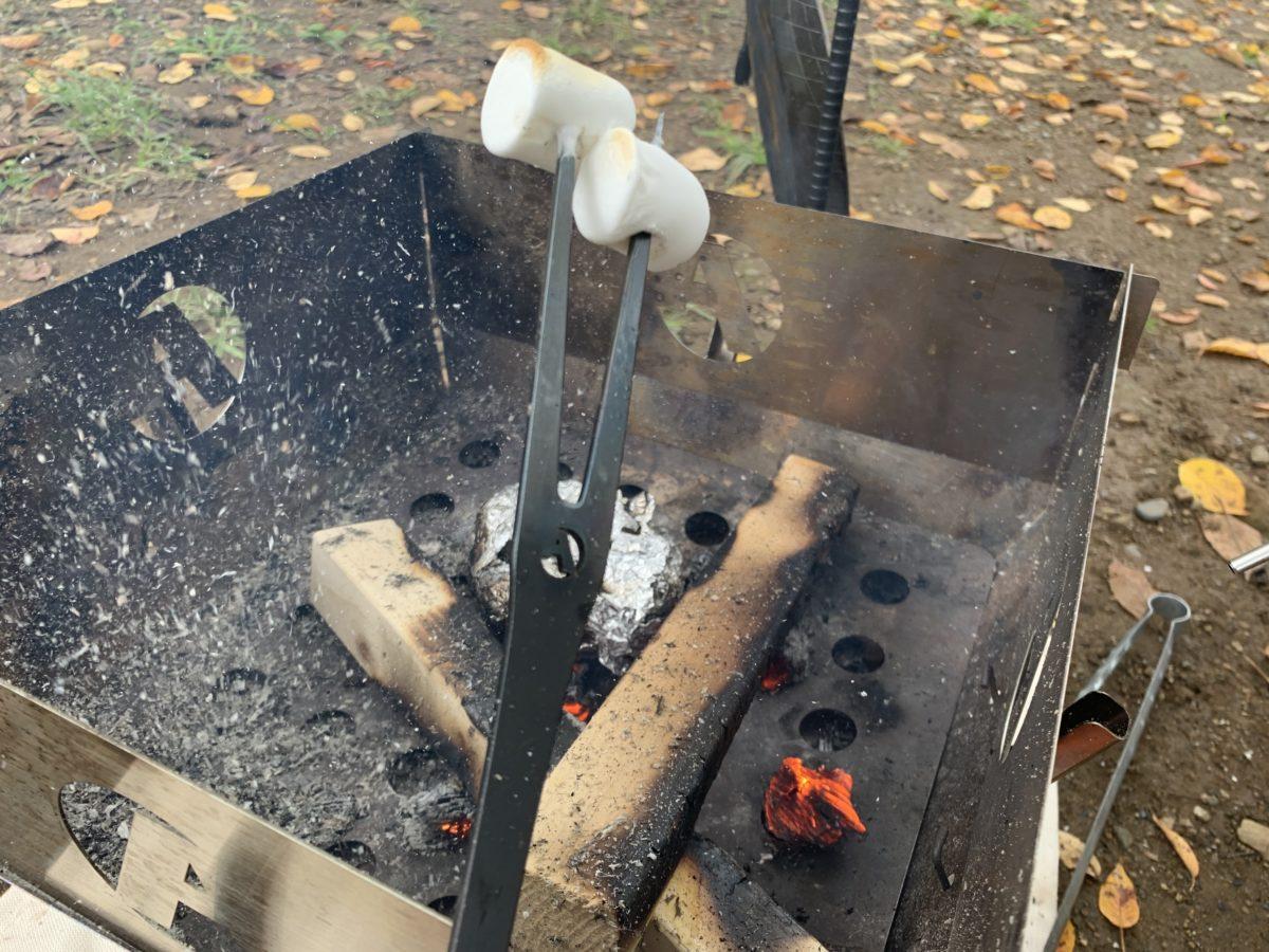 焚き火で焼くマシュマロ
