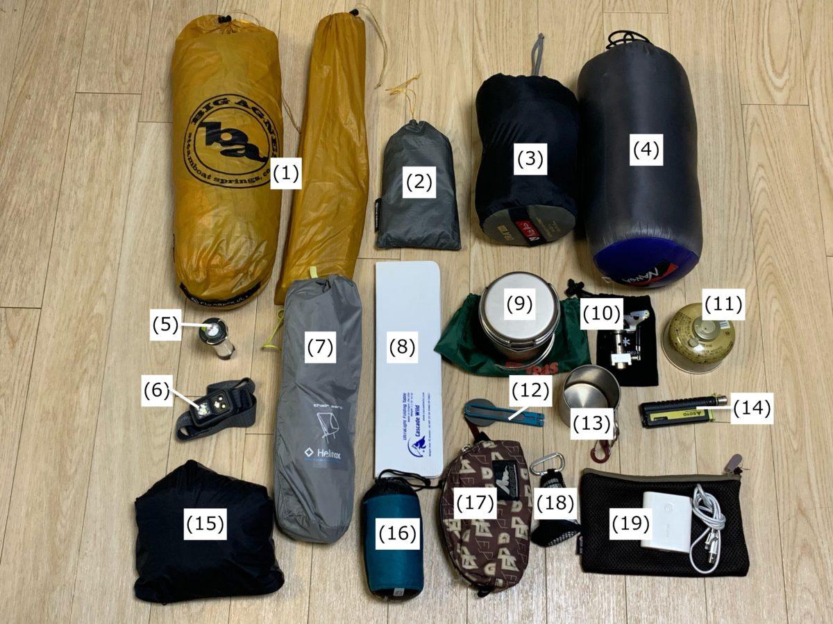 最低限必要なソロキャンプ道具一式