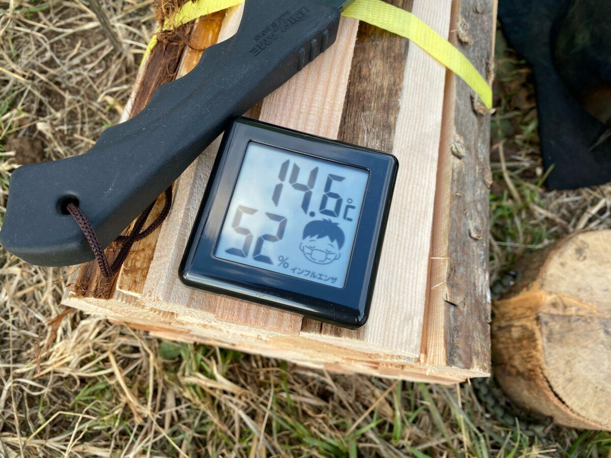 12月下旬冬キャンプ日中の気温