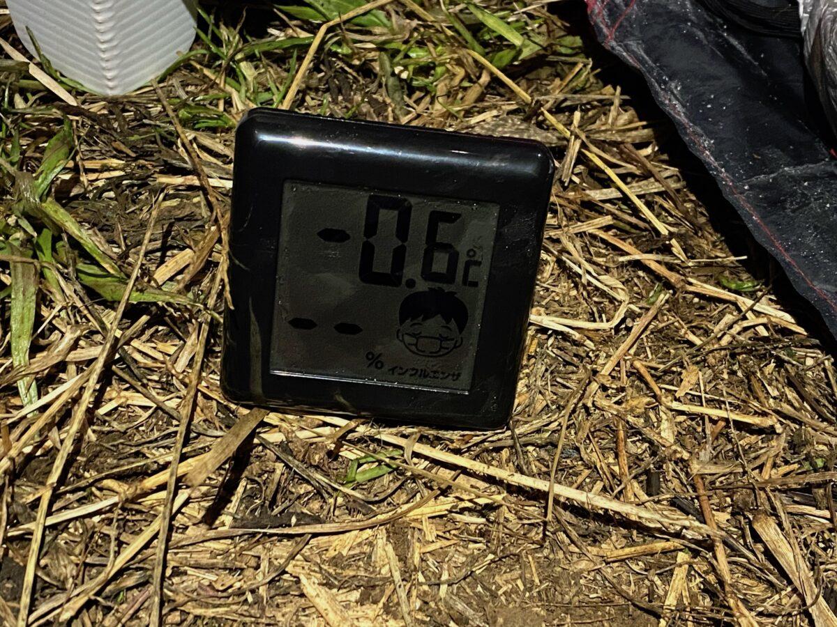 12月下旬冬キャンプ夜の気温