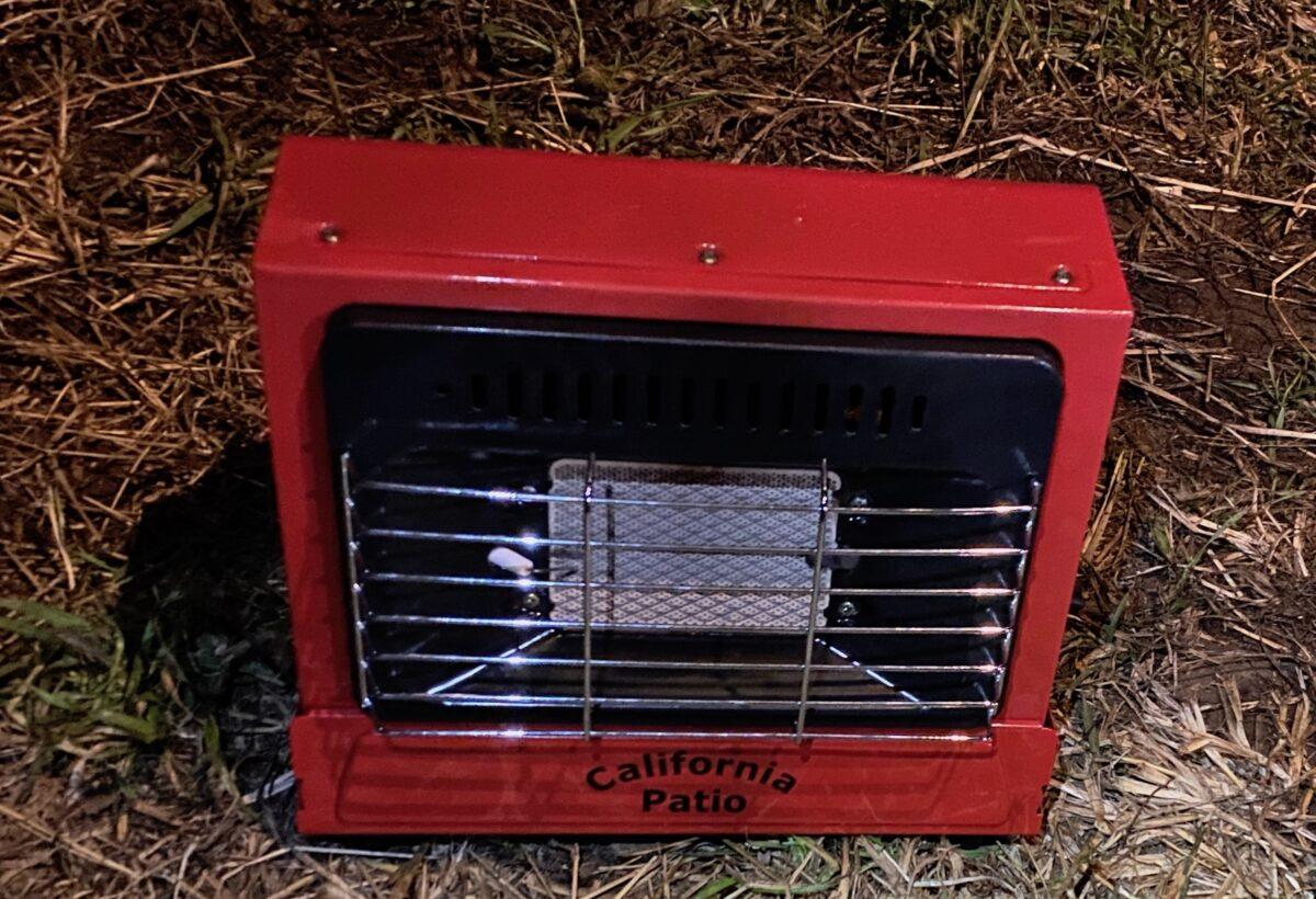 点火した直後のカリフォルニアパティオ「アウトドアカセットガスヒーター」