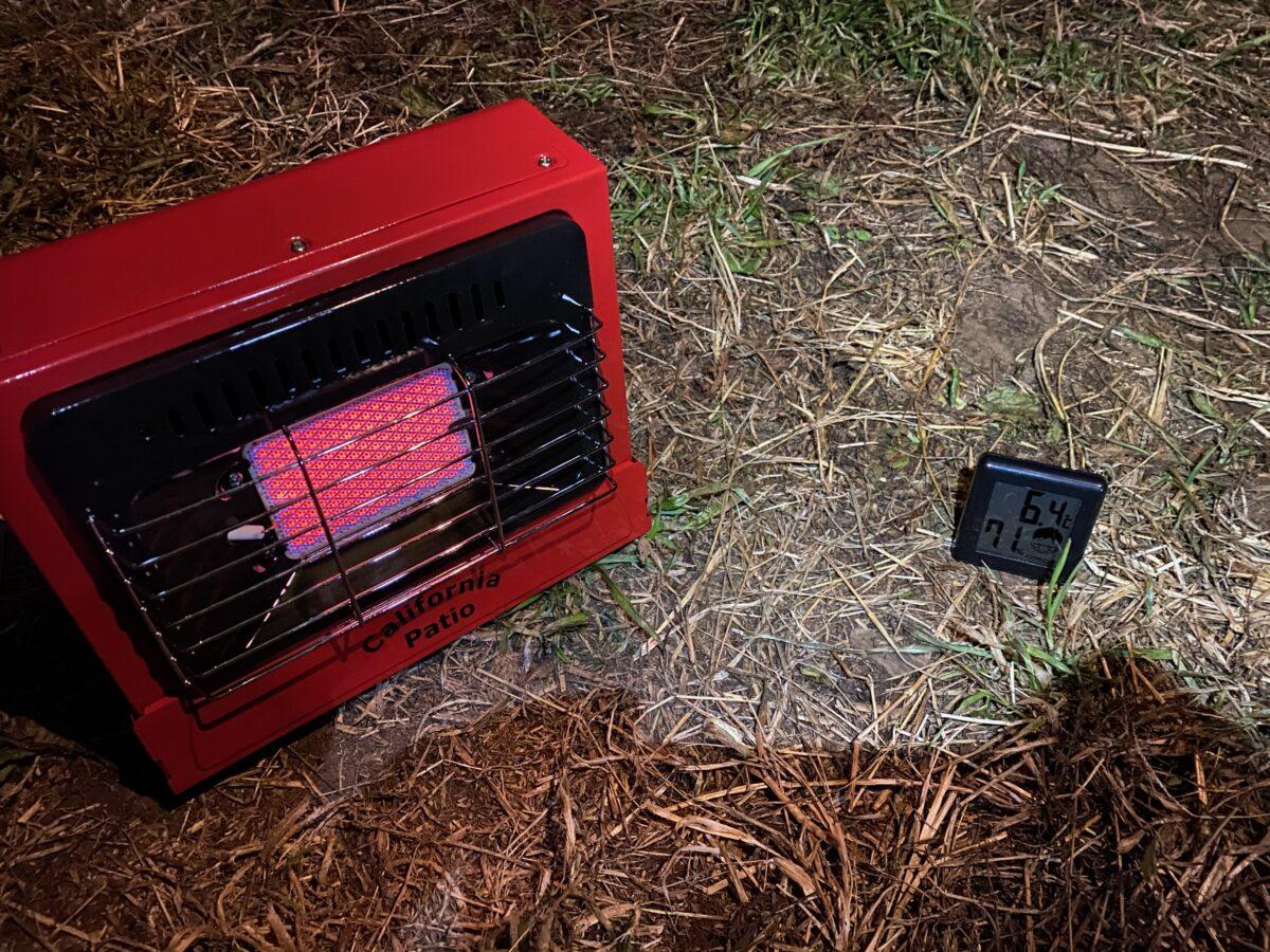 冬キャンプでカリフォルニアパティオ「アウトドアカセットガスヒーター」使った際の気温1