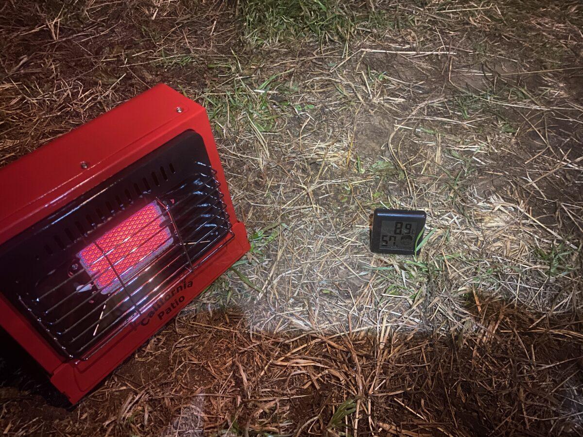 冬キャンプでカリフォルニアパティオ「アウトドアカセットガスヒーター」使った際の気温2