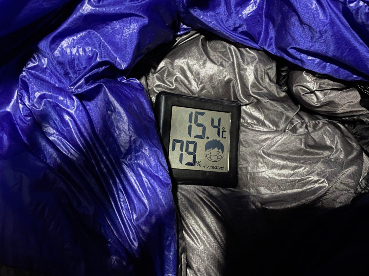 12月のシュラフの中の温度
