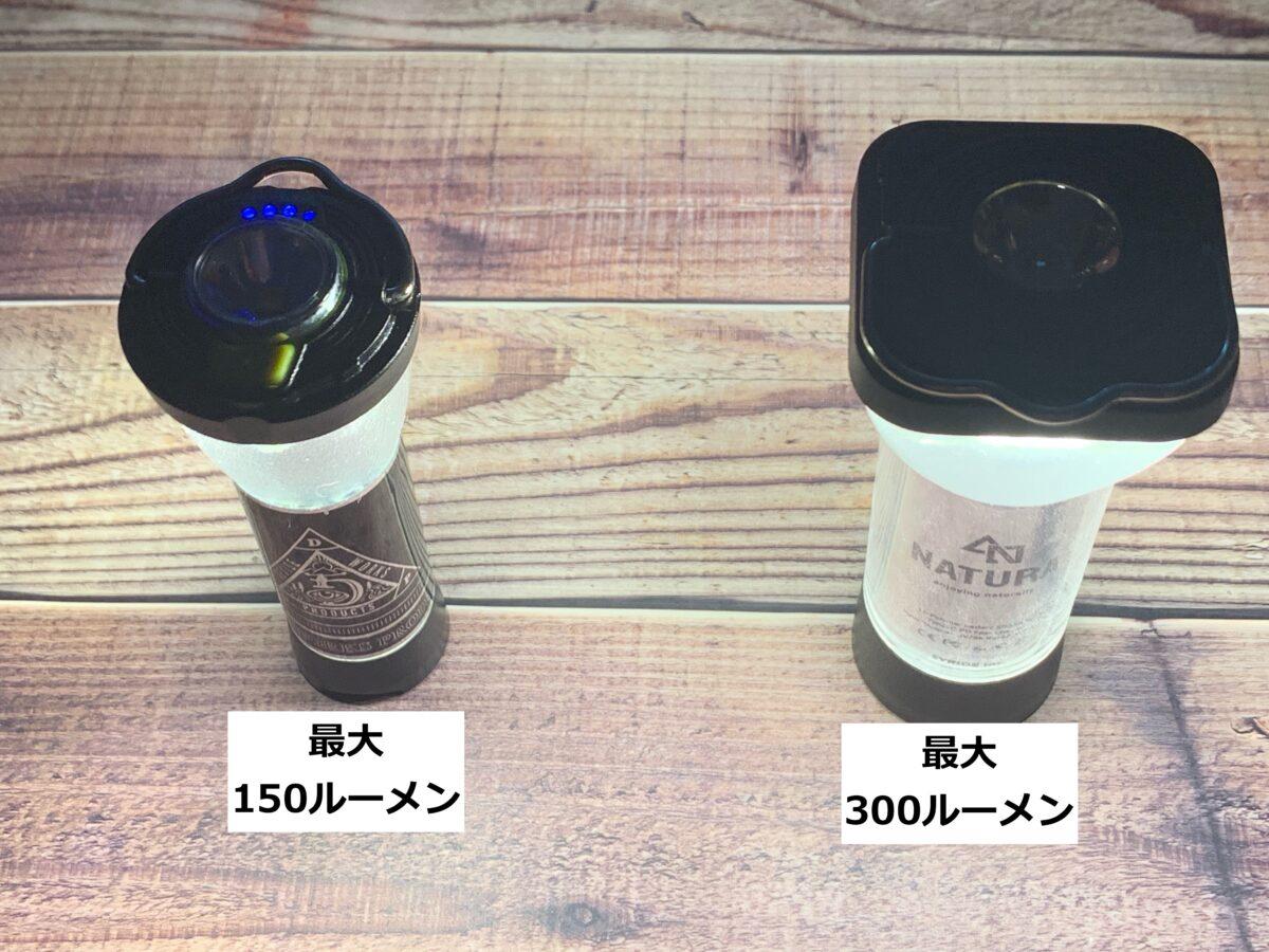 Goal Zero「LIGHTHOUSE micro FLASH」とNATURA「LED SUPER FLASH LIGHT」それぞれのランタンの光量